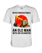 Never Underestimate an old man with an Excavator  V-Neck T-Shirt thumbnail
