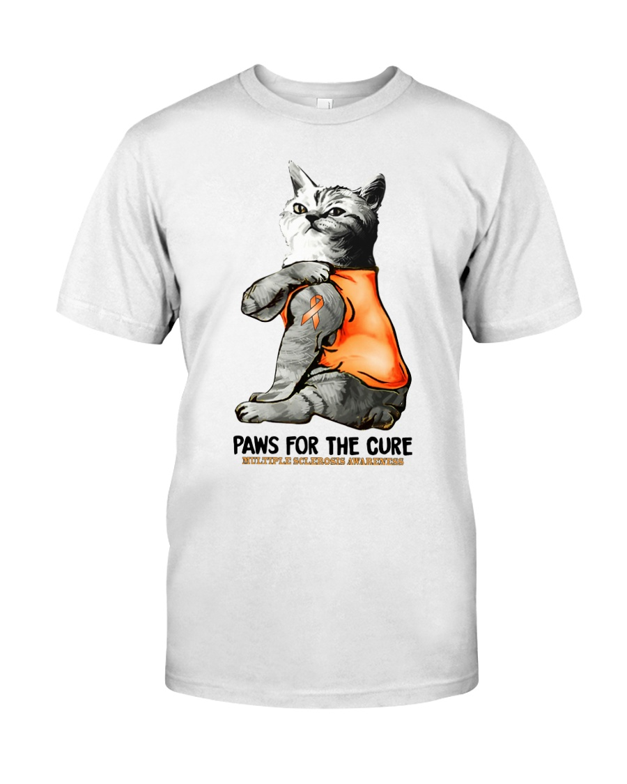 Cat tattoo Paws for the cure Multiple sclerosis  Classic T-Shirt