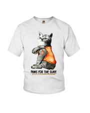 Cat tattoo Paws for the cure Multiple sclerosis  Youth T-Shirt thumbnail