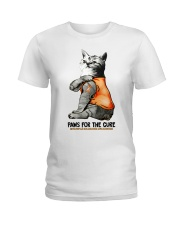 Cat tattoo Paws for the cure Multiple sclerosis  Ladies T-Shirt thumbnail