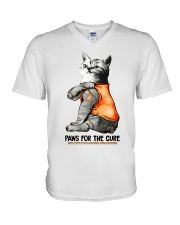 Cat tattoo Paws for the cure Multiple sclerosis  V-Neck T-Shirt thumbnail