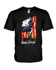 Hand American flag Trump Elephant signature shirt V-Neck T-Shirt thumbnail