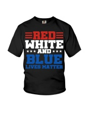 Red white and blue lives matter shirt Youth T-Shirt tile