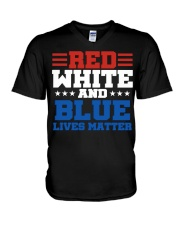Red white and blue lives matter shirt V-Neck T-Shirt thumbnail