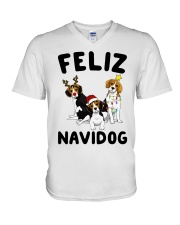 Feliz Navidog Beagle Christmas V-Neck T-Shirt thumbnail