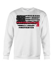 Husband daddy protector firefighter shirt Crewneck Sweatshirt tile