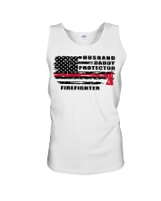 Husband daddy protector firefighter shirt Unisex Tank tile