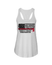 Husband daddy protector firefighter shirt Ladies Flowy Tank thumbnail