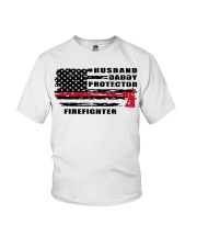 Husband daddy protector firefighter shirt Youth T-Shirt tile