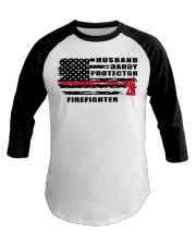Husband daddy protector firefighter shirt Baseball Tee tile