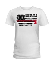 Husband daddy protector firefighter shirt Ladies T-Shirt tile
