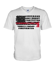 Husband daddy protector firefighter shirt V-Neck T-Shirt tile