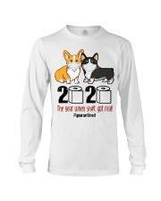 Corgi 2020 the year when shit got real quarantined Long Sleeve Tee tile