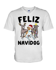 Feliz Navidog Greyhound Christmas shirt V-Neck T-Shirt thumbnail