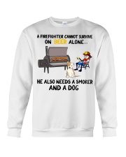 Firefighter beer needs a smoker and a dog shirt Crewneck Sweatshirt thumbnail