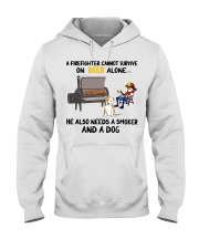 Firefighter beer needs a smoker and a dog shirt Hooded Sweatshirt thumbnail
