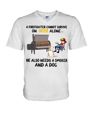Firefighter beer needs a smoker and a dog shirt V-Neck T-Shirt thumbnail