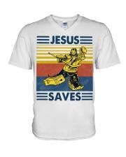 Hockey Jesus Saves Vintage shirt V-Neck T-Shirt thumbnail