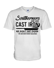Southerners are like cast iron we don't get V-Neck T-Shirt thumbnail