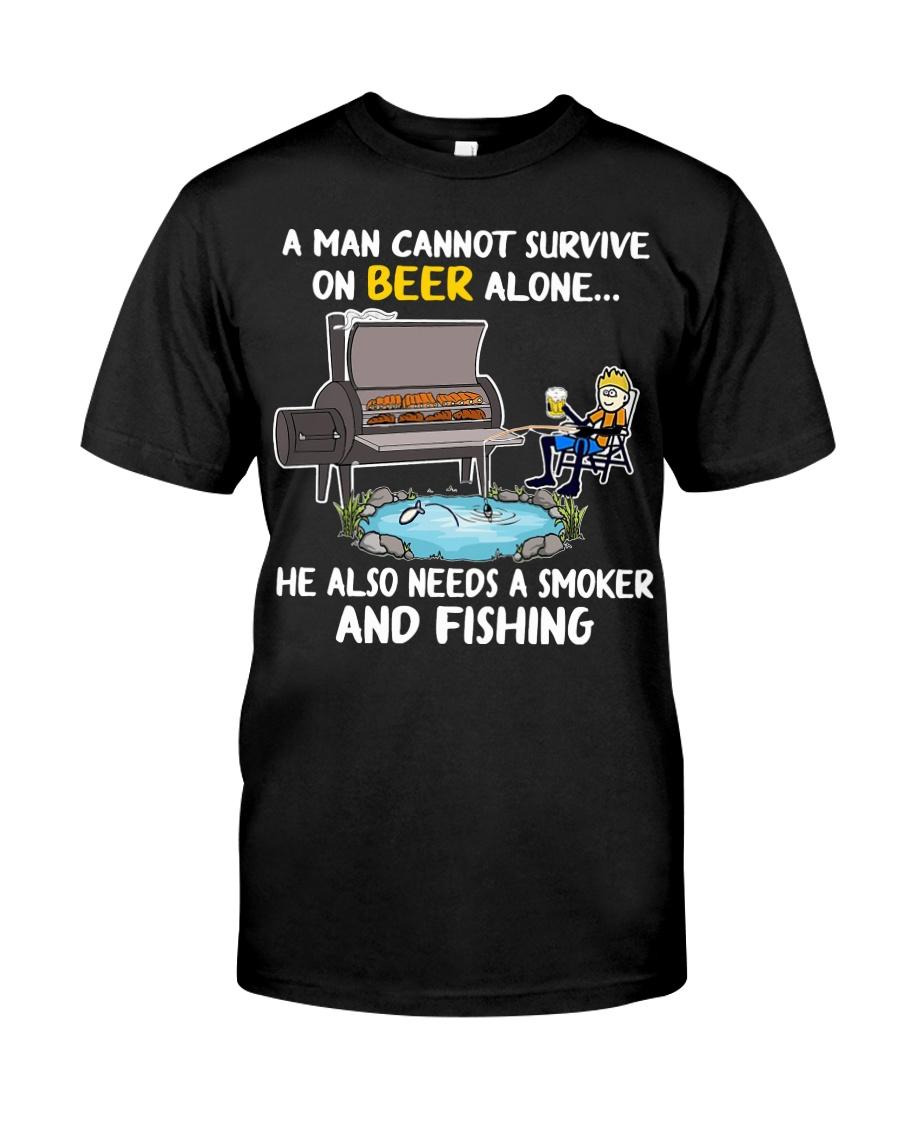 Man Beer Fishing Smoker shirt Classic T-Shirt