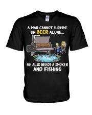 Man Beer Fishing Smoker shirt V-Neck T-Shirt thumbnail