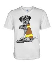 Dalmatian Tattoo I love firefinger shirt V-Neck T-Shirt thumbnail