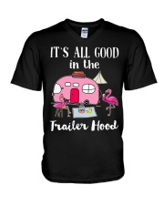Flamingos Camping It's all good in the trailer  V-Neck T-Shirt thumbnail