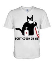 Black cat knife don't cough on me shirt V-Neck T-Shirt thumbnail