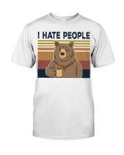 Vintage I hate people bear coffee shirt Classic T-Shirt thumbnail