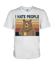 Vintage I hate people bear coffee shirt V-Neck T-Shirt tile