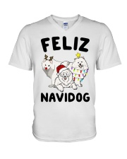Feliz Navidog Samoyed Christmas V-Neck T-Shirt tile