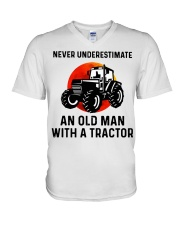 Never underestimate an old man with a Tractor  V-Neck T-Shirt thumbnail