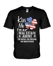 Kiss me I'm a real estate agent or Irish or drunk  V-Neck T-Shirt thumbnail