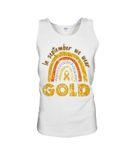 Childhood Cancer In September We wear gold shirt Unisex Tank thumbnail