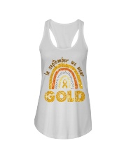 Childhood Cancer In September We wear gold shirt Ladies Flowy Tank thumbnail