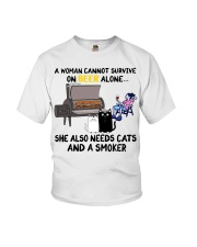 Woman beer alone she also needs a smoker cats Youth T-Shirt thumbnail