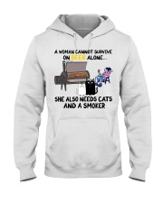 Woman beer alone she also needs a smoker cats Hooded Sweatshirt thumbnail