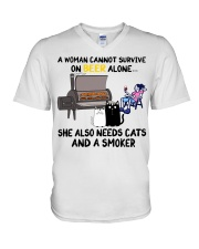 Woman beer alone she also needs a smoker cats V-Neck T-Shirt thumbnail