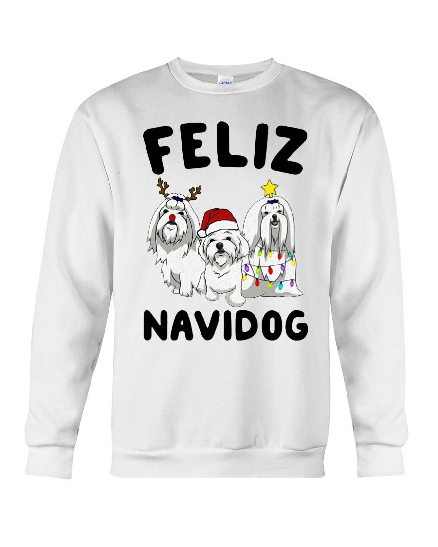 Feliz Navidog Maltese Christmas shirt Crewneck Sweatshirt