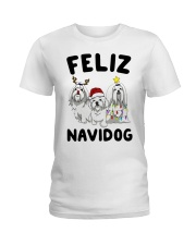 Feliz Navidog Maltese Christmas shirt Ladies T-Shirt thumbnail