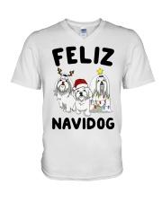 Feliz Navidog Maltese Christmas shirt V-Neck T-Shirt thumbnail