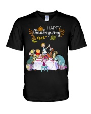 Winnie The Pooh Happy Thanksgiving shirt V-Neck T-Shirt tile
