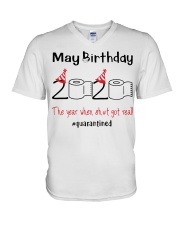 May Birthday 2020 the year when shit got real  V-Neck T-Shirt tile