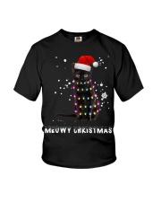 Meowy Christmas Black cat shirt Youth T-Shirt thumbnail