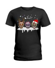 Skulls and Tattoos Merry Christmas Ladies T-Shirt thumbnail