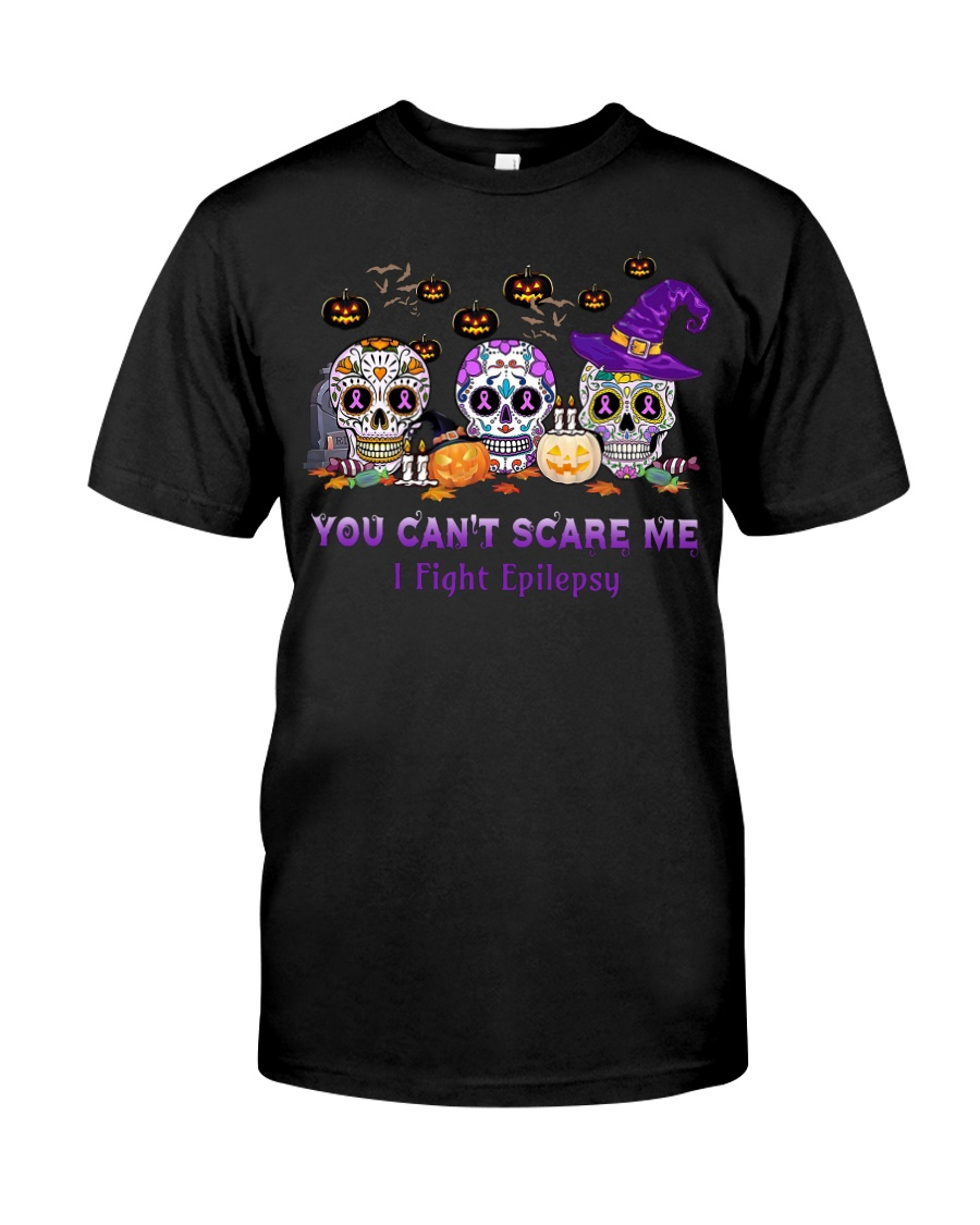 Skull Tattoos You can't scare me I fight Epilepsy Classic T-Shirt