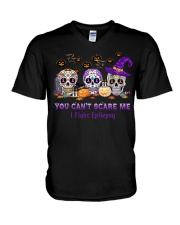 Skull Tattoos You can't scare me I fight Epilepsy V-Neck T-Shirt thumbnail