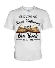 Surviving social distancing one book at a time  V-Neck T-Shirt thumbnail