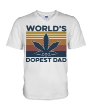 World's Dopest Dad Weed Vintage shirt V-Neck T-Shirt thumbnail