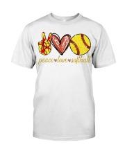 Peace love Softball shirt Classic T-Shirt front